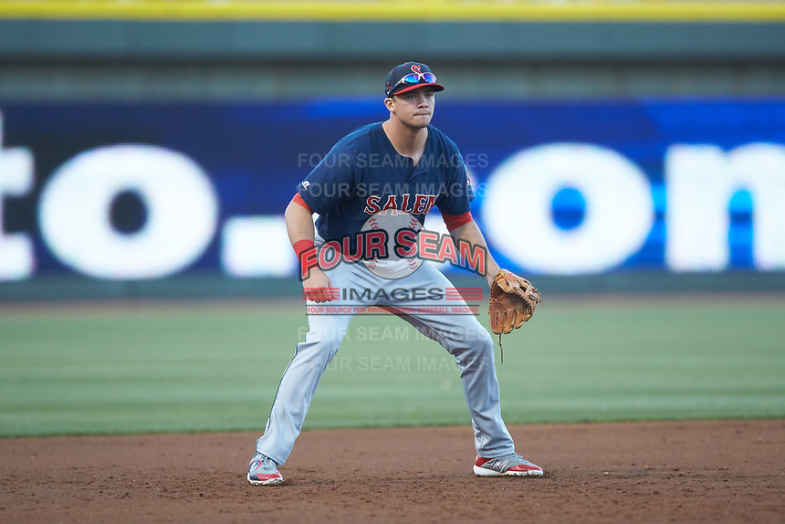 Salem Red Sox third baseman Bobby Dalbec (29) on defense against the Winston-Salem Dash at BB&T Ballpark on April 20, 2018 in Winston-Salem, North Carolina.  The Red Sox defeated the Dash 10-3.  (Brian Westerholt/Four Seam Images)