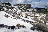grupetto up the snowy Cormet de Roselend (2cat/1968m/5.7km@6.5%)<br /> <br /> 73rd Critérium du Dauphiné 2021 (2.UWT)<br /> Stage 7 from Saint-Martin-le-Vinoux to La Plagne (171km)<br /> <br /> ©kramon