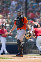 Bowie Baysox catcher David Freitas (46) on defense against the Richmond Flying Squirrels at The Diamond on May 24, 2015 in Richmond, Virginia.  The Flying Squirrels defeated the Baysox 5-2.  (Brian Westerholt/Four Seam Images)