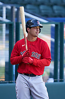 Boston Red Sox Nick Yorke (80) on deck during a Major League Spring Training game against the Atlanta Braves on March 7, 2021 at CoolToday Park in North Port, Florida.  (Mike Janes/Four Seam Images)