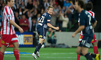 MELBOURNE, AUSTRALIA - DECEMBER 11: Adrian Leijer of the Victory celebrates his goal during the round 18 A-League match between the Melbourne Heart and Melbourne Victory at AAMI Park on December 11, 2010 in Melbourne, Australia. (Photo by Sydney Low / Asterisk Images)