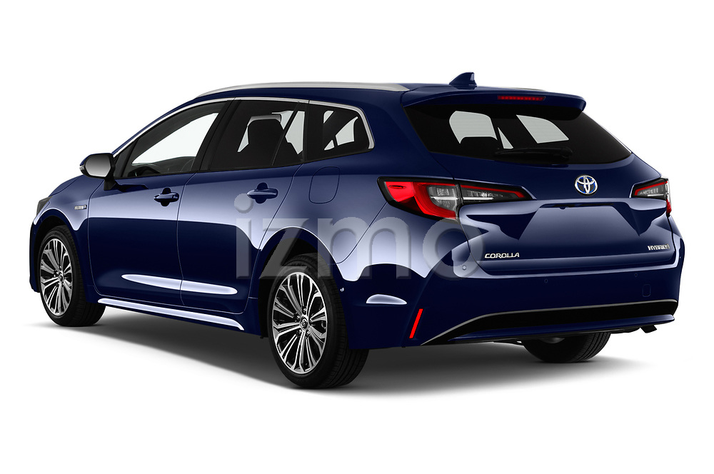 Car pictures of rear three quarter view of a 2019 Toyota Corolla Touring Sports Premium 5 Door Wagon angular rear