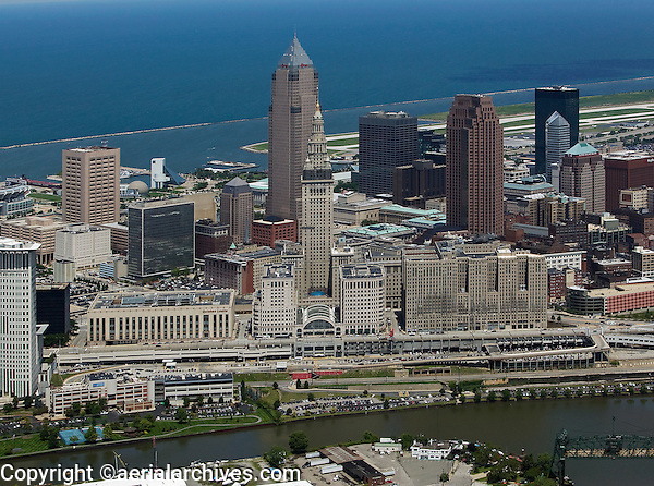 aerial view above downtown Cleveland Ohio Cuyahoga river Lake Erie