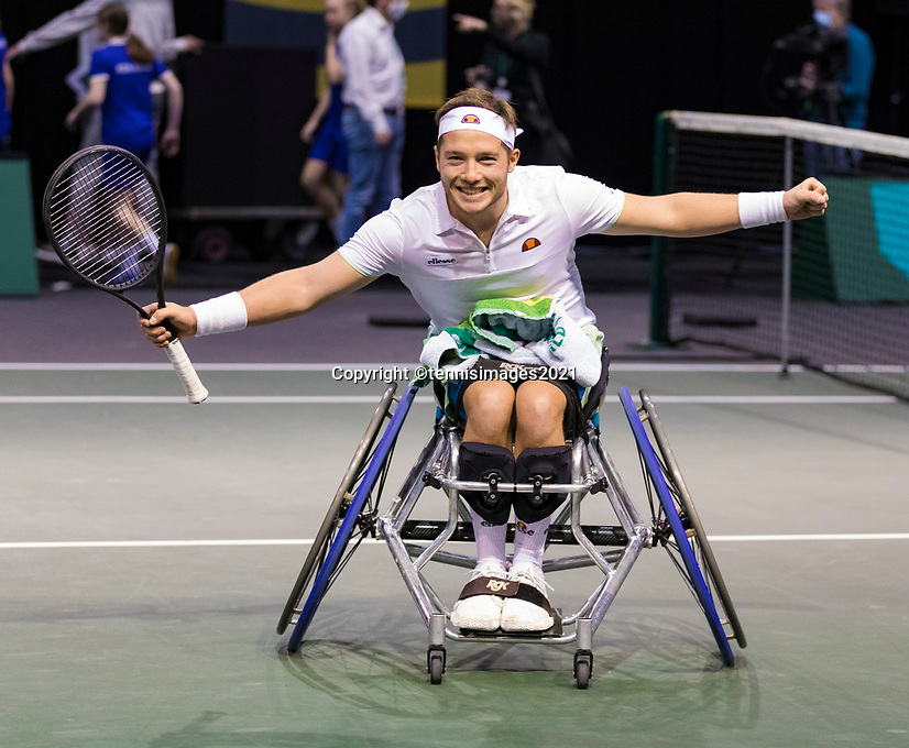 Rotterdam, The Netherlands,7 march  2021, ABNAMRO World Tennis Tournament, Ahoy,  <br /> Wheelchair final: Gordon Reid (GBR) Alfie Hewett (GBR).<br /> Photo: www.tennisimages.com/henkkoster