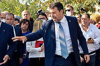 The leader of Lega right party Matteo Salvini (r), prepares to attend an electoral campaign press conference for the mayoral election in Spinaceto, a peripheral neighborhood in the west of Rome on October 1st 2021. Photo Andrea Staccioli Insidefoto