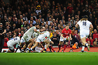 Pictured: Dan Biggar of Wales in action during the Guinness six nations match between Wales and England at the Principality Stadium, Cardiff, Wales, UK.<br /> Saturday 23 February 2019