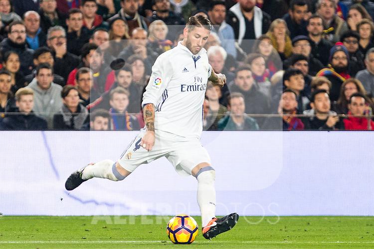 Real Madrid's Sergio Ramos during spanish La Liga match between Futbol Club Barcelona and Real Madrid  at Camp Nou Stadium in Barcelona , Spain. Decembe r03, 2016. (ALTERPHOTOS/Rodrigo Jimenez)