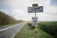 "Funny fact: 50 km's along the route the peloton passes the town of 'Le Pavé' (""The Cobble""). Funny thing the first cobbles are still another 48 km's away...<br /> <br /> 114th Paris-Roubaix 2016"
