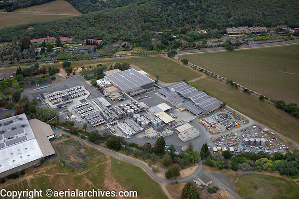 aerial photograph of the Beringer Production Facility, St. Helena,  Napa County, California, Beringer Winery in background left, the Culinary Institute of America in the background right