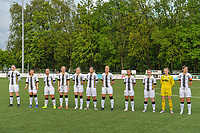 line-up Sporting Charleroi ( Estelle Dessilly (13) , Jeanne Bouchenna (10) , Megane Vos (16) , Ludmila Matavkova (9) , Renate-Ly Mehevets (15) , Alysson Duterne (14) , Madison Hudson (8) , Jessica Silva Valdebenito (18) , Chrystal Lermusiaux (2) , goalkeeper Ambre Collet (1) , Noemie Fourdin (22) ) pictured before a female soccer game between Sporting Charleroi and Eendracht Aalst on the 8th matchday in play off 2 of the 2020 - 2021 season of Belgian Scooore Womens Super League , tuesday 18 th of May 2021 in Marcinelle , Belgium . PHOTO SPORTPIX.BE | SPP | STIJN AUDOOREN