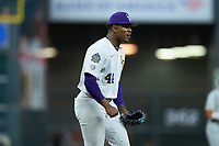 LSU Tigers relief pitcher Jaden Hill (44) reacts after getting the third out in the eighth inning against the Texas Longhorns in game three of the 2020 Shriners Hospitals for Children College Classic at Minute Maid Park on February 28, 2020 in Houston, Texas. The Tigers defeated the Longhorns 4-3. (Brian Westerholt/Four Seam Images)