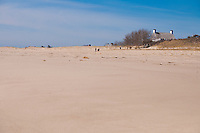 Sand dunes of lighthouse beach In low season in Chatham, Cape Cod