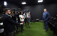 Pictured: John Toshack MBE being interviewed by reporters Tuesday 04 April 2017<br />Re: Official opening of the Fairwood Training Complex of Swansea City FC, Wales, UK