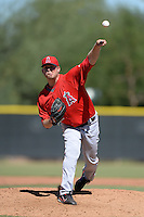 Los Angels Angels of Anaheim pitcher Chris O'Grady (14) during an instructional league game against the Colorado Rockies on September 30, 2013 at Tempe Diablo Stadium Complex in Tempe, Arizona.  (Mike Janes/Four Seam Images)