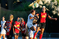 Rochester, NY - Saturday July 23, 2016: Frances Silva, Lianne Sanderson during a regular season National Women's Soccer League (NWSL) match between the Western New York Flash and FC Kansas City at Rochester Rhinos Stadium.