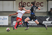 Esther Buabadi (24) of Zulte-Waregem and Frieke Temmerman (17) of Club Brugge  pictured during a female soccer game between SV Zulte - Waregem and Club Brugge YLA on the 13 th matchday of the 2020 - 2021 season of Belgian Scooore Womens Super League , saturday 6 th of February 2021  in Zulte , Belgium . PHOTO SPORTPIX.BE | SPP | DIRK VUYLSTEKE