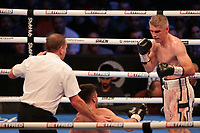 9th October 2021; M&S Bank Arena, Liverpool, England; Matchroom Boxing, Liam Smith versus Anthony Fowler; LIAM SMITH (Liverpool, England) wins by a technical knockout in the 8th round against  of ANTHONY FOWLER (Liverpool, England) to win the WBA International Super-Welterweight Title