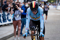Wout van Aert (BEL/Jumbo-Visma) straight after finishing his TT > waiting to see if Ganna can best his time<br /> <br /> Men Elite Individual Time Trial <br /> from Knokke-Heist to Bruges (43.3 km)<br /> <br /> UCI Road World Championships - Flanders Belgium 2021<br /> <br /> ©kramon