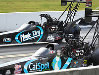 Sep 15, 2018; Mohnton, PA, USA; NHRA top fuel driver Dom Lagana (far) alongside Scott Palmer during qualifying for the Dodge Nationals at Maple Grove Raceway. Mandatory Credit: Mark J. Rebilas-USA TODAY Sports