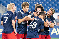 FOXBOROUGH, MA - JUNE 26: Ryan Spaulding #34 of the New England Revolution celebrates with his team after his goal during a game between North Texas SC and New England Revolution II at Gillette Stadium on June 26, 2021 in Foxborough, Massachusetts.
