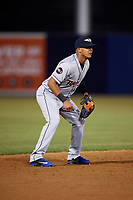 Lakeland Flying Tigers shortstop David Gonzalez (1) during a game against the Tampa Yankees on April 7, 2017 at George M. Steinbrenner Field in Tampa, Florida.  Lakeland defeated Tampa 5-0.  (Mike Janes/Four Seam Images)