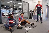 (L-R) Nathan Dyer and Wayne Routledge exercise in the gym during the Swansea City Training at The Fairwood Training Ground in Swansea, Wales, UK. Thursday 28 December 2017