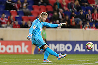 Harrison, NJ - Wednesday Feb. 22, 2017: David Ousted during a Scotiabank CONCACAF Champions League quarterfinal match between the New York Red Bulls and the Vancouver Whitecaps FC at Red Bull Arena.