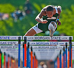 Julian Woods, of Century High School, competes in the boys 110 meter hurdles at the 1A/2A Maryland State Track and Field Championships at Morgan University in Baltimore, Maryland on May 24, 2012