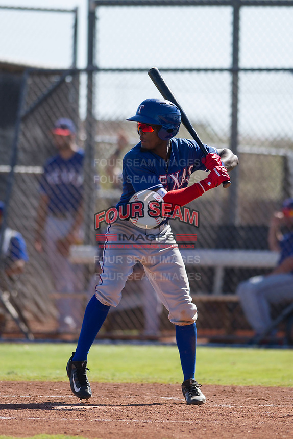 Texas Rangers outfielder Eric Jenkins (92) at bat during an Instructional League game against the San Diego Padres on September 20, 2017 at Peoria Sports Complex in Peoria, Arizona. (Zachary Lucy/Four Seam Images)