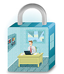 Illustration of business man working in a lock shaped room