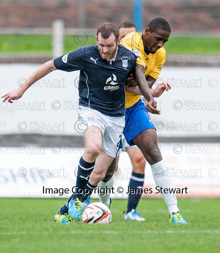 Dundee's Craig Beattie holds off Cowdenbeath's Nathaniel Wedderburn.