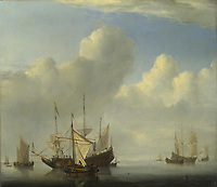 Full title: A Dutch Ship coming to Anchor<br /> Artist: Willem van de Velde<br /> Date made: 1657<br /> Source: http://www.nationalgalleryimages.co.uk/<br /> Contact: picture.library@nationalgallery.co.uk<br /> <br /> Copyright © The National Gallery, London
