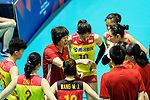 Team coach Lang Ping of China (L) talks during the match between China and Japan on May 30, 2018 in Hong Kong, Hong Kong. (Photo by Power Sport Images/Getty Images)