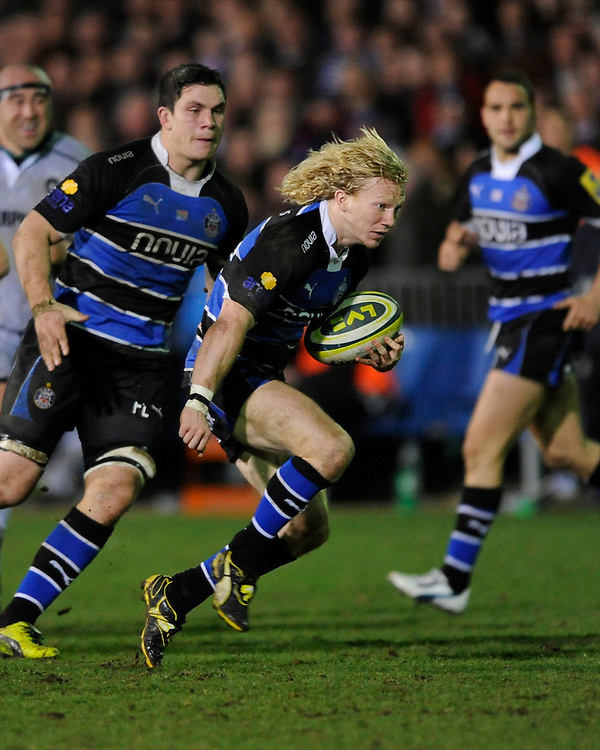 Tom Biggs of Bath Rugby  during the LV= Cup semi final match between Bath Rugby and Leicester Tigers at The Recreation Ground, Bath (Photo by Rob Munro, Fotosports International)