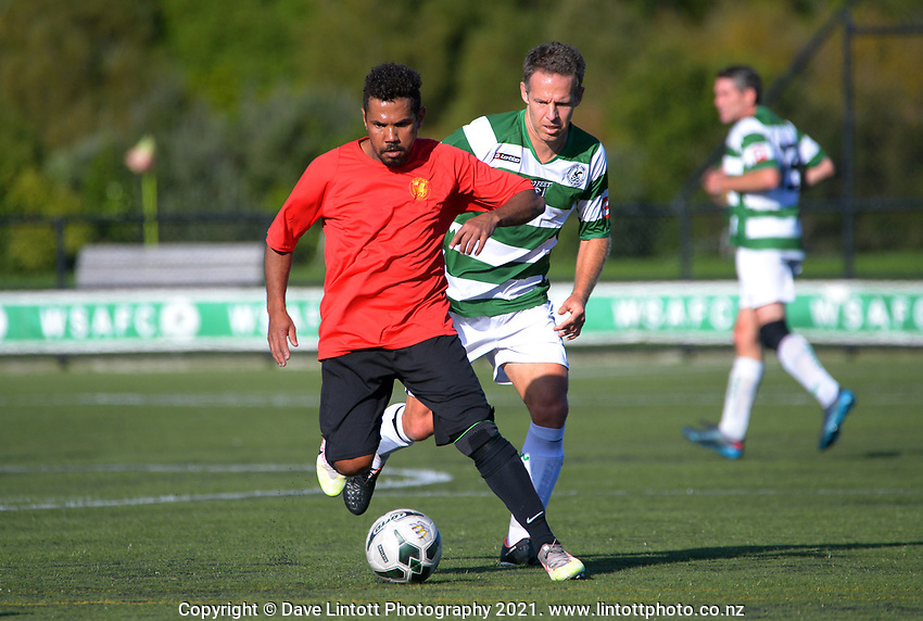 Action from the Northern Region Football Community Men's Masters Division One match between Western Springs AFC Go Feet and Ellerslie AFC at Seddon Fields in Auckland, New Zealand on Saturday, 1 May 2021. Photo: Dave Lintott / lintottphoto.co.nz