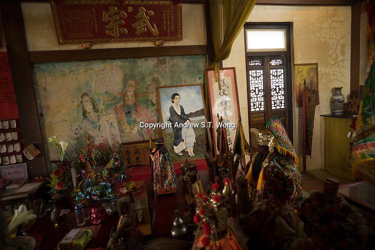 A painting depicting a young Zheng Chenggong, also known as Koxinga, or Coxinga, with his Japanese mother is seen at a Zheng Chenggong Temple in Tainan, Taiwan, 2015. Zheng was born Aug. 28, 1624, in Hirado, Japan and died June 23, 1662, in Taiwan. Zheng was a pirate leader of Ming forces against the Manchu conquerors of China and best known for establishing Chinese control over Taiwan.