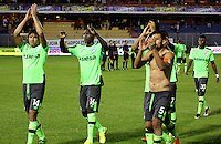 PASTO -COLOMBIA-24-ABRIL-2016.Jugadores del Deportivo Cai saludan y celebran su victoria ante Pasto un gol or cero. Acción de juego entre los equipos Pasto Y Deportivo Cali    durante partido por la fecha 14 de Liga Águila I 2016 jugado en el estadio La Libertad  de Pasto./Players of Depotivo Cali celebrate their victory against Pasto. Action game between Pasto and Deportivo Cali during the match for the date 14 of the Aguila League I 2016 played at Libertad  stadium in Pasto . Photo: VizzorImage / Leonardo Castro  / Contribuidor