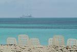 Le Ponant is anchored off a Cuban beach.