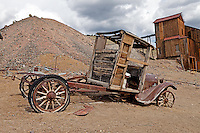 Pickup truck and the Knickerbocker stamp mill at Berlin-Ichthyosaur State Park in Nevada.