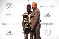 Philadelphia, PA - Thursday January 19, 2018: Edward Opoku, J. Todd Durbin during the 2018 MLS SuperDraft at the Pennsylvania Convention Center.