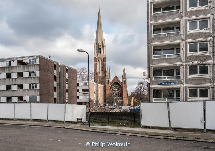 Demolition of Gloucester House and Durham Court blocks, opposite St.Augustine's Church, in Phase 2b of Brent Council's South Kilburn Estate regeneration scheme.