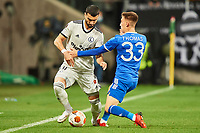 30th September 2021; Marshall Józef Piłsudski's Municipal Stadium, Warsaw, Poland: Europa League fooball, Legia Warsaw versus Leicester City;  MAHIR EMRELI tackled by LUKE THOMAS