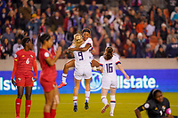HOUSTON, TX - JANUARY 31: Jessica McDonald #14 and Lindsey Horan #9 of the United States celebrate during a game between Panama and USWNT at BBVA Stadium on January 31, 2020 in Houston, Texas.