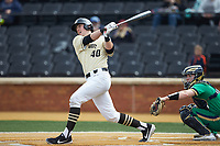Cole McNamee (40) of the Wake Forest Demon Deacons follows through on his swing against the Notre Dame Fighting Irish at David F. Couch Ballpark on March 10, 2019 in  Winston-Salem, North Carolina. The Demon Deacons defeated the Fighting Irish 7-4 in game one of a double-header.  (Brian Westerholt/Four Seam Images)