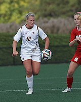 Cambridge, Massachusetts - October 19, 2014: NCAA Division I. In overtime, Boston College (white) defeated North Carolina State University (NC State) (red), 1-0, on Soldiers Field Soccer Stadium at Harvard University.