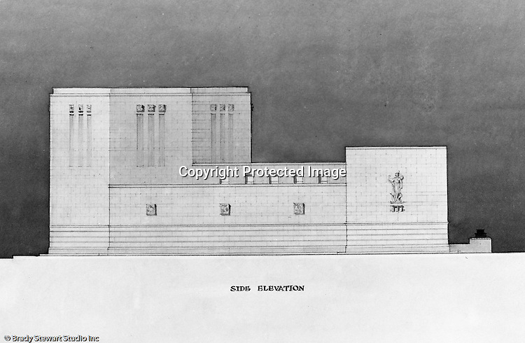 Pittsburgh PA:  View of a rendering created by J.A. Mitchell of the new Buhl Planetarium.  This view is of the building's left side view and elevation.  The project was completed in 1939.  The Buhl Planetarium was built with monies from the Buhl Foundation; a foundation created by the wealthy North Side clothier Henry Buhl of Boggs and Buhl department store fame.  Brady Stewart was selected for the job due to his specialized equipment; an 8x10 Dierdorff camera, and his expertise in lighting and photographing large renderings and drawings.