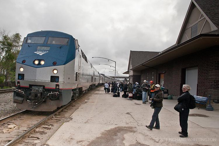 The Empire Builder arriving in Minot, North Dakota.