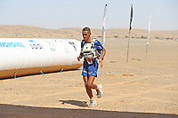 8th October 2021; Boulchrhal to Sud Jebel Irhfelt N'Tissalt ;  Marathon des Sables, stage 5 and final stage of  a six-day, 251 km ultramarathon, which is approximately the distance of six regular marathons. The longest single stage is 91 km long. This multiday race is held every year in southern Morocco, in the Sahara Desert. Rachid El Morabity crosses the finish line to win the 35eme Marathon Des Sables