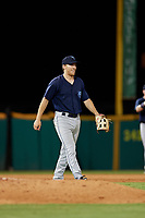 Mobile BayBears third baseman Jordan Zimmerman (21) during a Southern League game against the Mobile BayBears on July 25, 2019 at Blue Wahoos Stadium in Pensacola, Florida.  Pensacola defeated Mobile 3-2 in the second game of a doubleheader.  (Mike Janes/Four Seam Images)