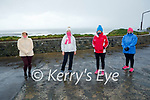 Braving the elements in Ballybunion on Friday as they go on a daily walk, l to r: Joan O'Connor, Joanne Clough, Helen and Brid Griffin.